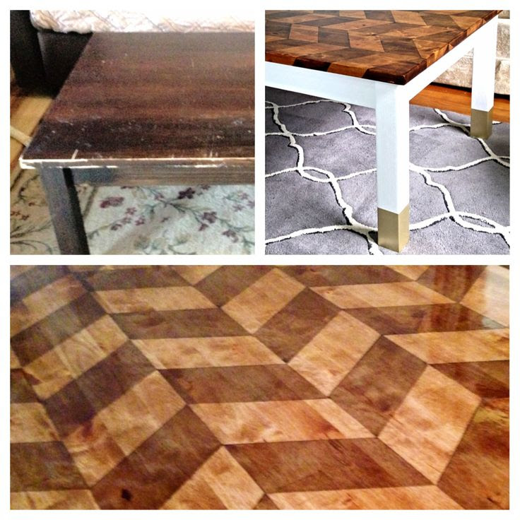 Dodge Design Bureau: Before and After of the Herringbone Table. Furniture makeover DIY.