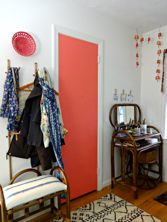 painted closet door and useful out in the open jewelry accessory and clothing storage