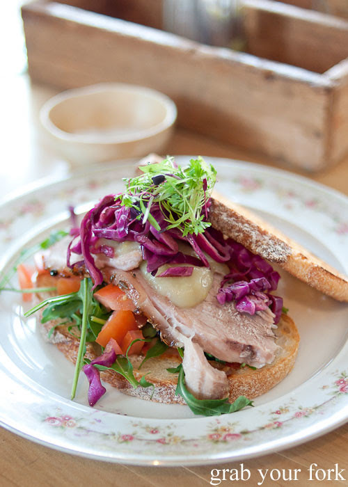 twice cooked pork belly sandwich at Something for Jess cafe in Chippendale