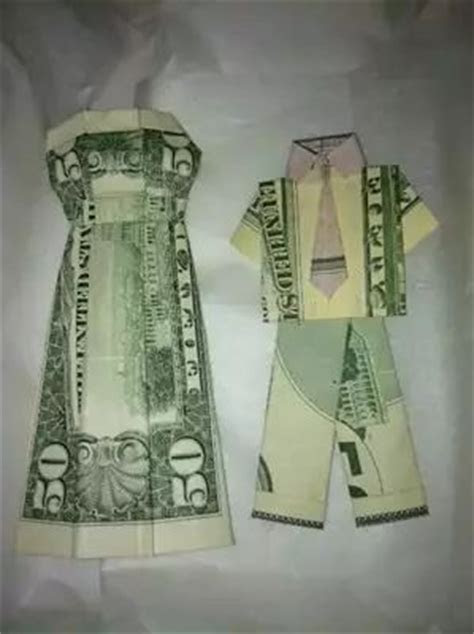 money origami wedding dress and suit   gifts   Pinterest