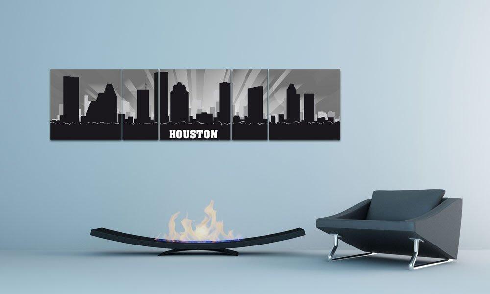 Amazon.com: XXL WALLART USA Panorama CITY SKYLINE Houston GREY ...