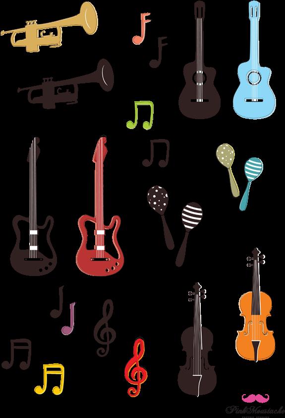 ラフに描かれた楽器や音符の無料イラスト Aiepsベクター Png画像 無料