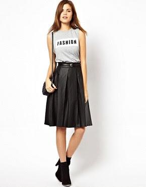 flared skirt,pleated skirt,pleats,black,skirt,midi,ASOS,leather