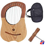 Lyre 10 Metal Strings Harp Rosewood 2 Tone with Bag and Tuning Key