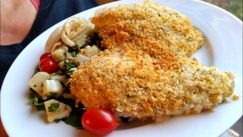 Baked Fish Recipe - Cod with Creamy Tartar Sauce -
