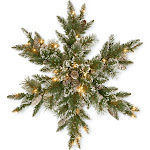 CC Christmas Decor Pre-Lit Glittery Bristle Pine Snowflake- 32-Inch, LED Lights Battery Operated