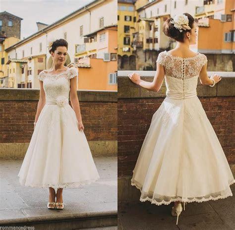 sheer lace wedding dress white ivory short sleeve tea