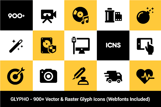 Glypho Icon Pack: 900+ Bold Vector & Raster Icons - only $14! - MightyDeals