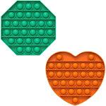 Fidget Pack Pop Pop – 2 pcs Pop Up Fidget Toys for Kids – Stress Relief Fidgets – Anti Stress Squeeze Toys (2 x Purple) (Set: Green + Orange)