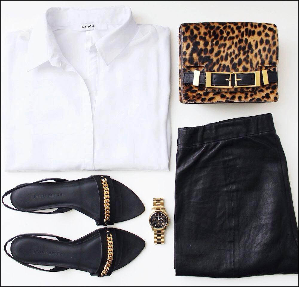 Le Fashion Blog Outfits: Lorca Studio Blanche Blouse ALC Leopard Davenport Bag, Jenni Kayne Chain Sandals, Michael Kors Watch & Vince Leather Pants -- photo Le-Fashion-Blog-Lorca-Studio-Blanche-Blouse-Classic-White-Shirt-ALC-Leopard-Davenport-Bag-Jenni-Kayne-Chain-Sandals-Michael-Kors-Watch-V.jpg