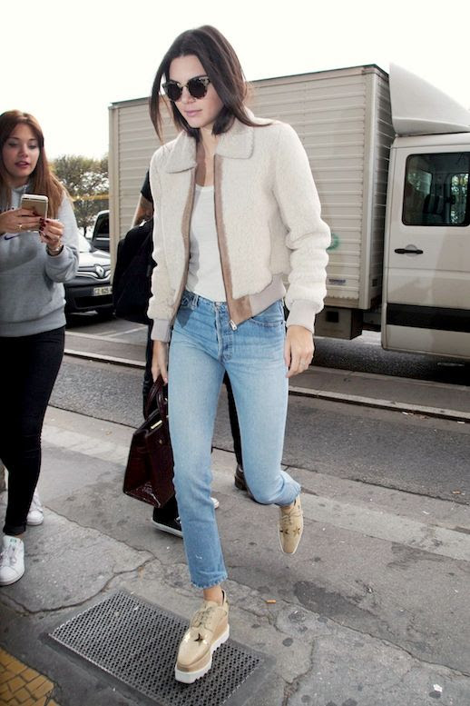 Le Fashion Blog Model Off Duty Street Style Kendall Jenner Shearling Bomber Jacket White Tee Cropped Jeans Stella Mccartney Platform Shoes Via Harpers Bazaar