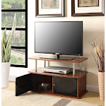 Desigsn2Go TV Stand with 2 Cabinets, Cherry