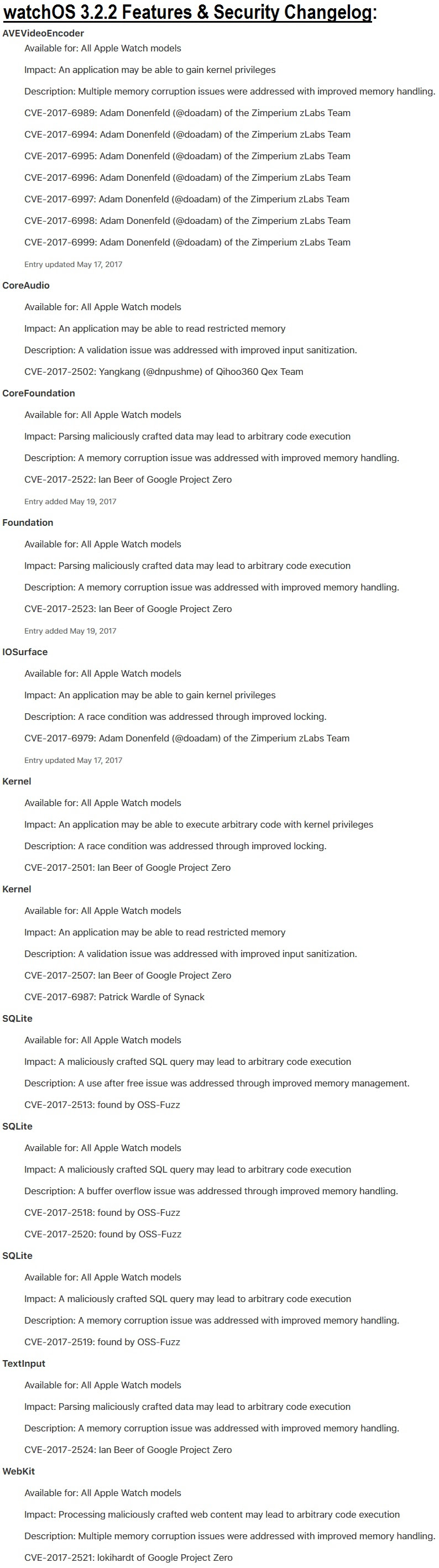 watchOS 3.2.2 Features Release Notes and Security Changelog
