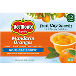 Del Monte No Sugar Added Mandarin Oranges Plastic Fruit Cup Snacks