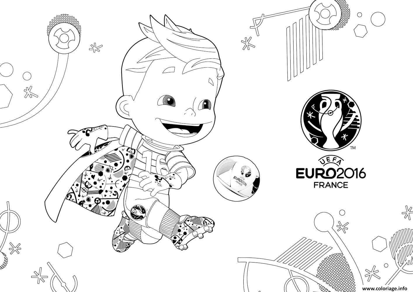 Coloriage Mascotte Euro 2016 France Uefa Jecoloriecom