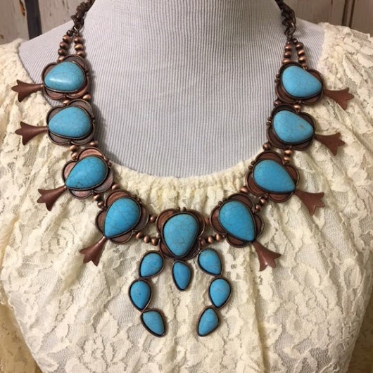 Squash Blossom Turquoise Necklace-Reproduction Squash Blossom-Copper Blue Turquoise Necklace- Free Shipping-Western Jewelry