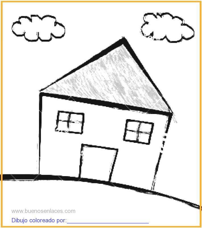 Dibujo De Casa Con Nubes Para Colorear E Imprimir