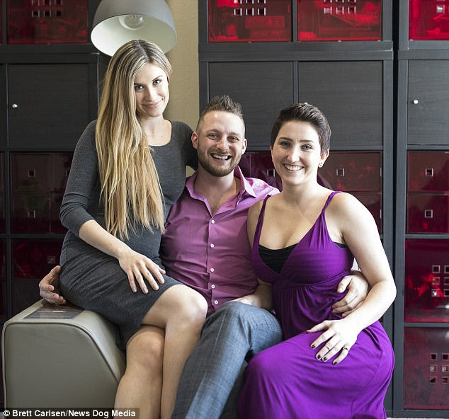 Adam with Brooke Shedd, 28, right, and Jane Shalakhova, 27, left, who all live as a 'throuple' in Austin, Texas