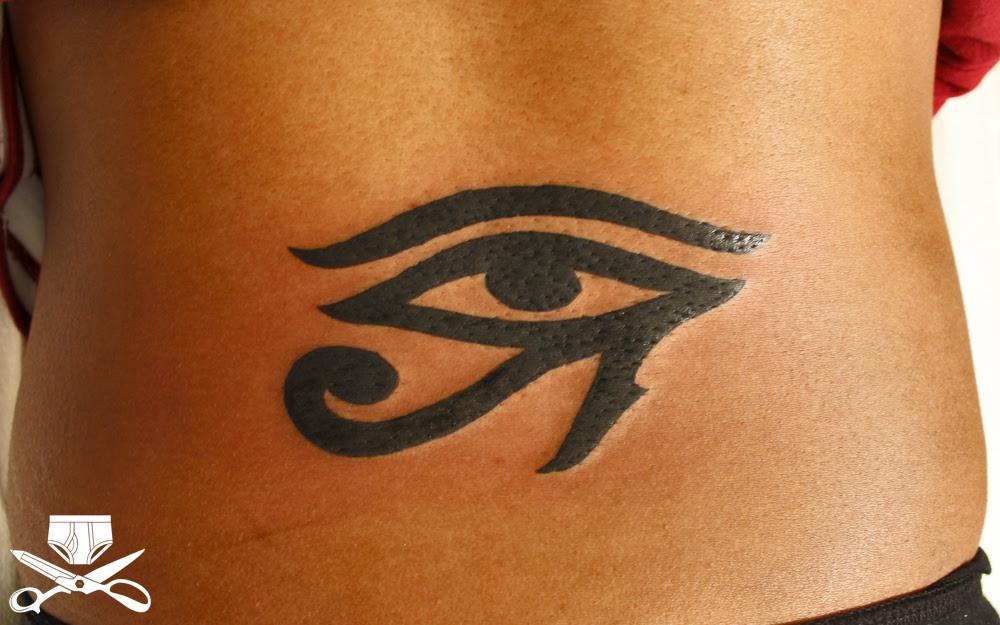 Tribal Egyptian Eye Tattoo On Back