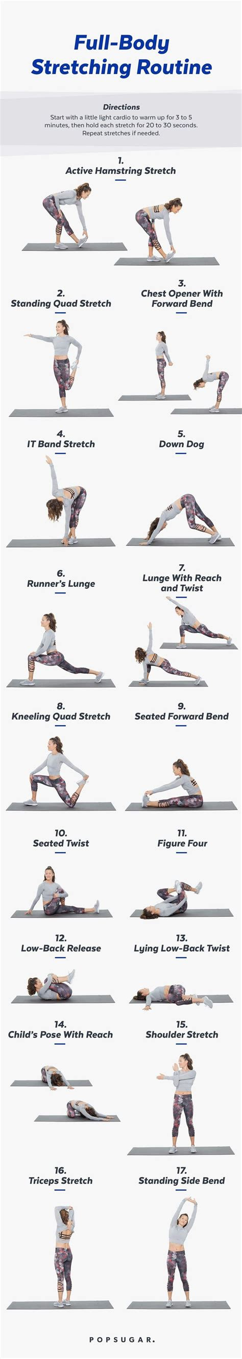printable full body stretch routine  chill days easy