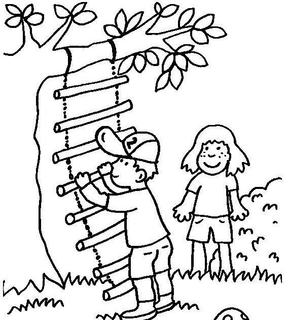 ausmalbild kinder spielen  cartoonbild