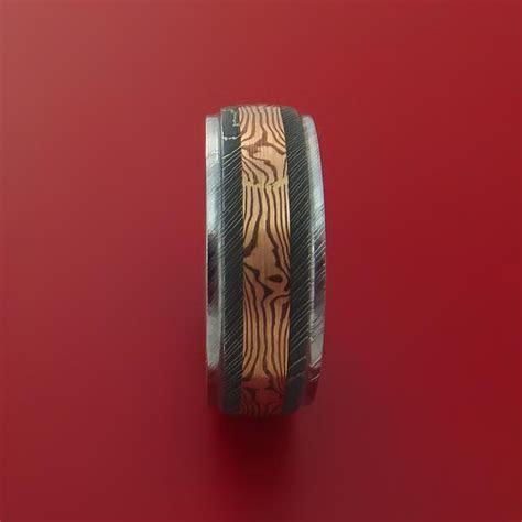 Damascus Steel and 14k Rose Gold Mokume Gane Shakudo Ring
