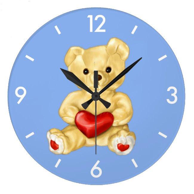 Blue Hypnotizing Cute Teddy Bear Large Clock