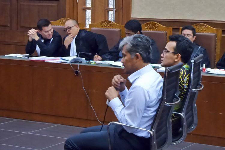 Ahli bidang pembuatan piranti elektronika Eko Fajar Nur Prasetyo, saat bersaksi dalam sidang kasus korupsi pengadaan e-KTP di Pengadilan Tipikor Jakarta, Kamis (23/11/2017).