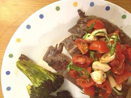 Caprese-topped steak