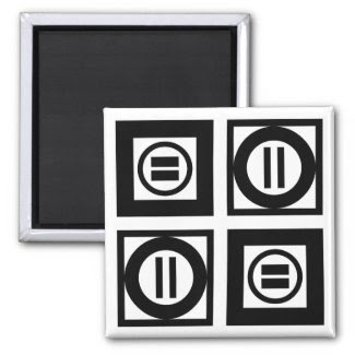 Black and White Geometric Equal Sign Pattern 2 Inch Square Magnet