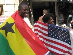 Ghana vs USA flag display