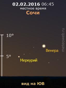 Венера и Меркурий на утреннем небе Сочи 2 февраля 2016 г.