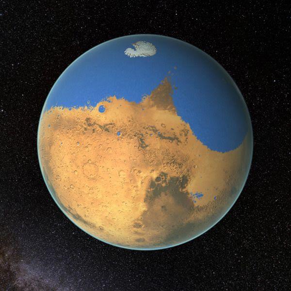 An artist's concept of an ancient ocean on Mars.