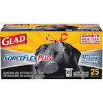 Glad ForceFlex Plus Trash Bags, Drawstring, Multipurpose, Large, 30 Gallon - 25 bags