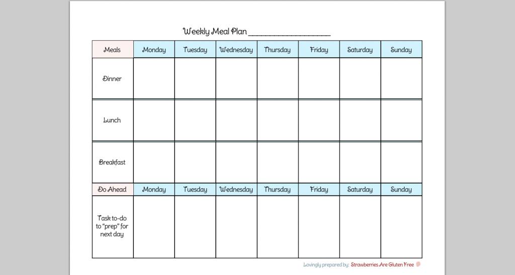 Printable 7 Day Meal Planner - Calendar June