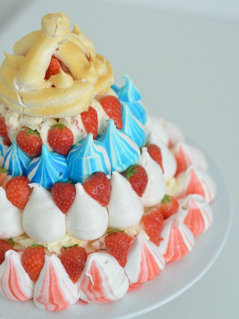 Great British Meringue Crown with Strawberries & Pimms