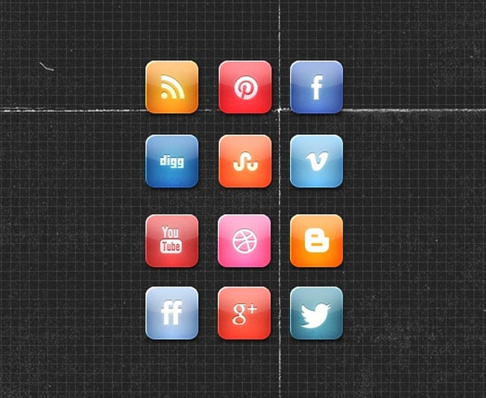A Nice Glossy Free Social Media Icon Set