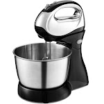 Costway 200W Stand Mixer Hand Mixer 5-Speed w/Dough Hooks & Beaters Stainless Steel Bowl