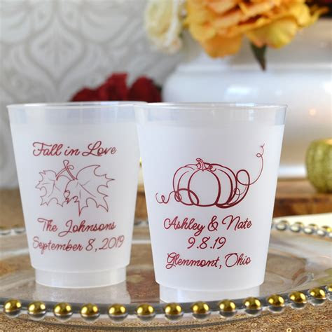 fall wedding cups  oz plastic frosted personalized