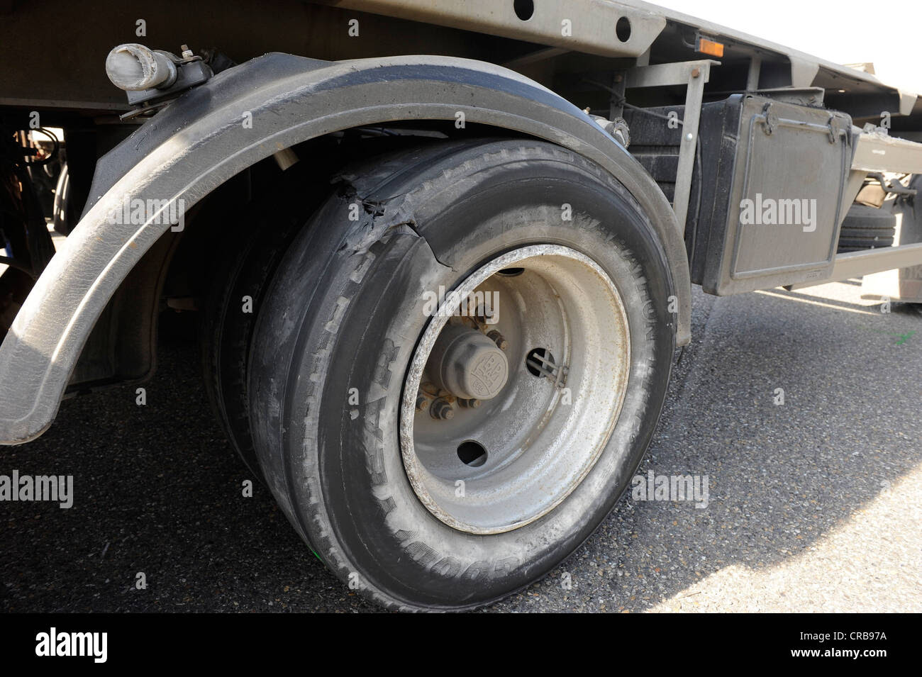 Burst Tire Of A Truck After An Accident Puncture Stock