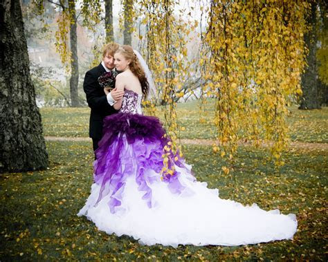 Purple And White Ombre Wedding Dress By