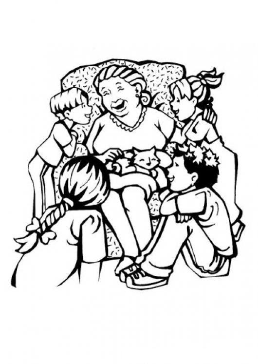 Dibujo De Abuela Con Nietos Para Pintar Y Colorear Abuelaynietos