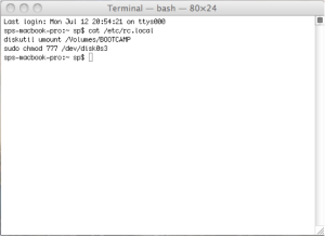 cat command to check rc.local file
