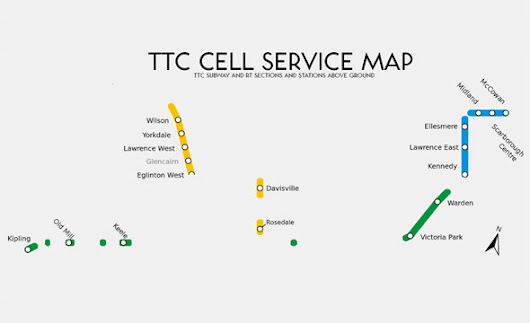 A cellular service map of the Toronto subway