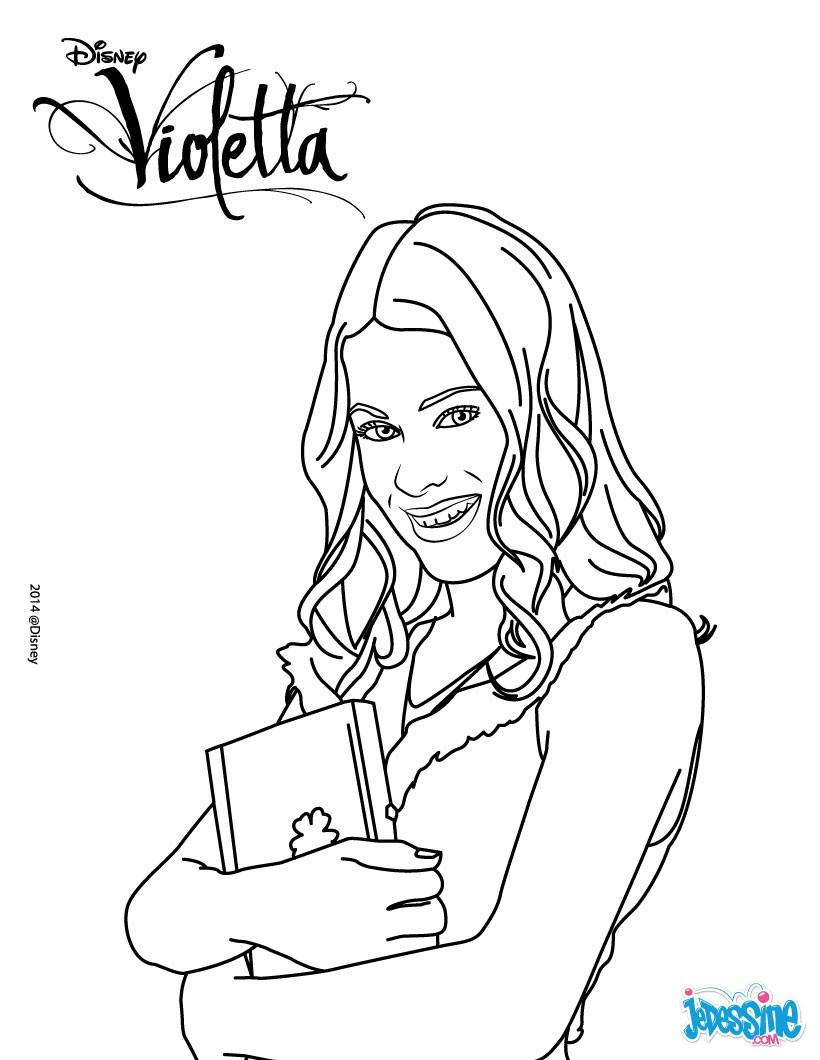 Violetta écoute de la musique Coloriage Violetta et son journal intime