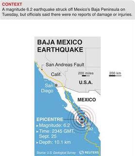 Map of Baja Mexico locating the epicentre of a 6.2 magnitude earthquake that struck Tuesday evening local time.