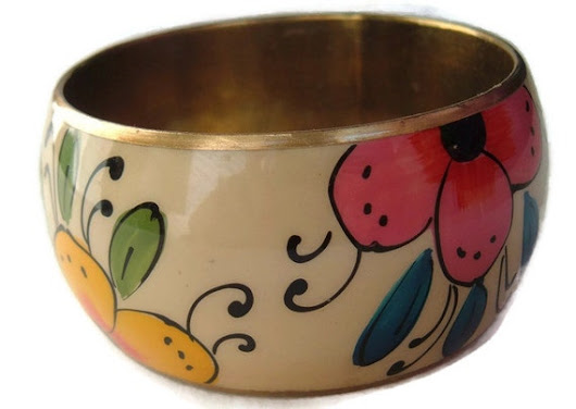 Colorful Metal floral bangle bracelet vintage by spankyluvsvintage