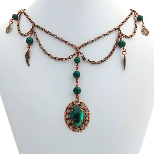 Malachite Antique Copper Victorian Steampunk Handmade Choker