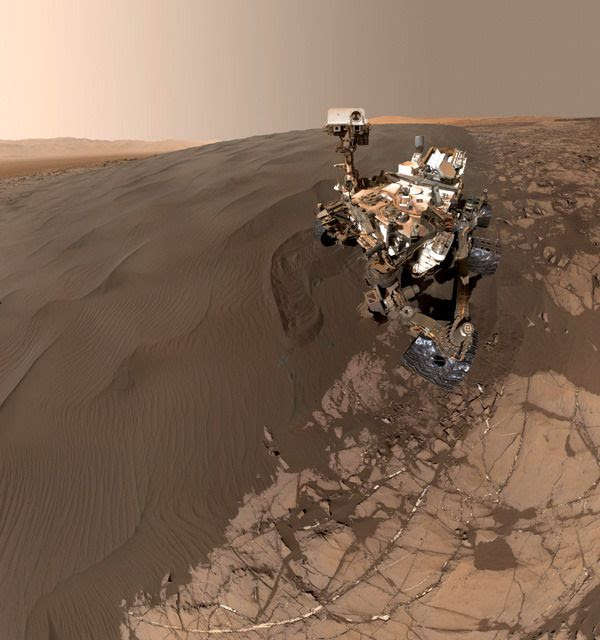 A self-portrait of NASA's Curiosity Mars rover, taken with a camera on her robotic arm on January 19, 2016.