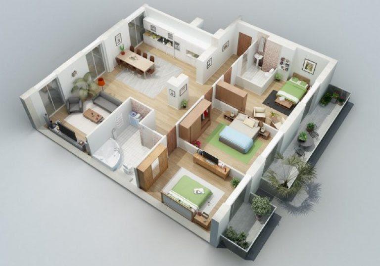 denah rumah type 45 3 kamar tidur 2 - Desain Rumah Minimalis